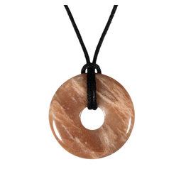Maansteen (roze) hanger donut 3 cm