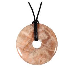 Maansteen (roze) hanger donut 4 cm