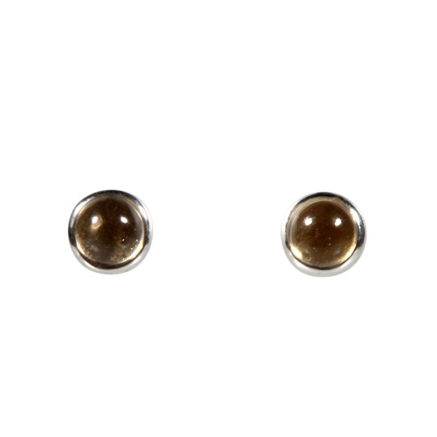 Zilveren oorstekers citrien (natuurlijk) rond cabochon 6 mm