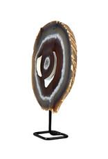 Agaat schijf gepolijst 26,5 x 23,5 x 2,5 cm / 3031 gram   op standaard
