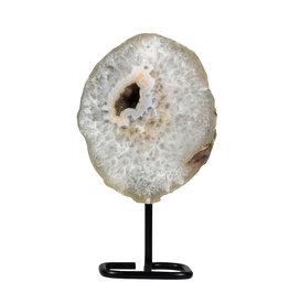Agaat schijf gepolijst 16,5 x 14 x 3,5 cm / 1351 gram | op standaard