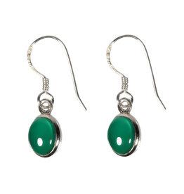 Zilveren oorbellen onyx (groen) ovaal 8 x 6 mm