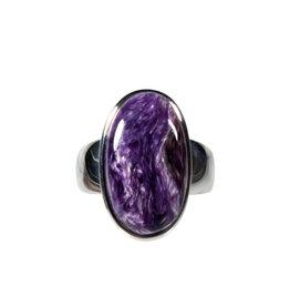 Zilveren ring charoiet maat 17   ovaal 2 x 1,1 cm