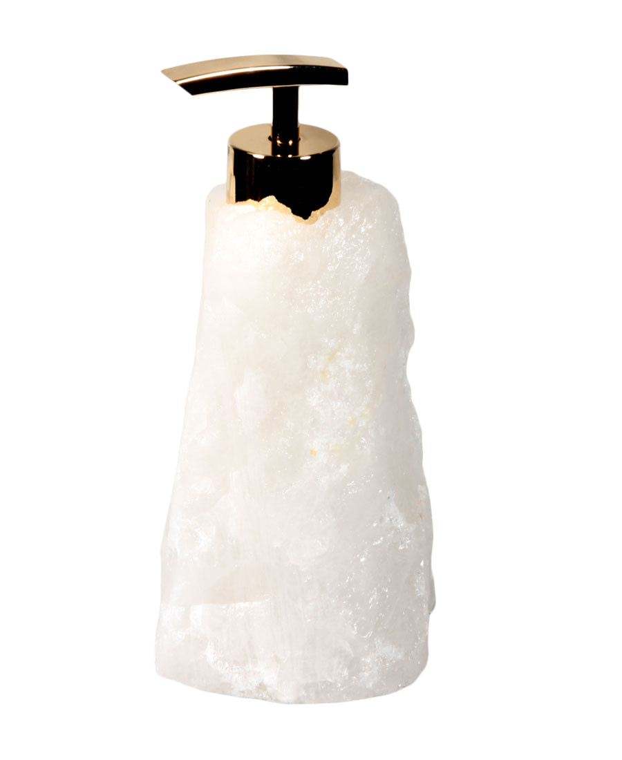 Bergkristal zeeppompje | goudkleurig
