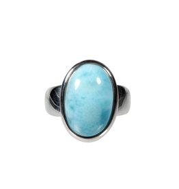 Zilveren ring larimar maat 18 1/4 | ovaal 1,8 x 1,2 cm