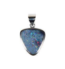 Zilveren hanger opaal (Australië) doublet | 1,7 x 1,1 cm