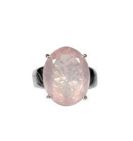 Zilveren ring rozenkwarts maat 18 3/4 | ovaal facet gezet 1,8 x 1,4 cm