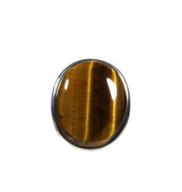 Zilveren ring tijgeroog maat 18 | ovaal 2,3 x 1,8 cm