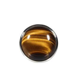 Zilveren ring tijgeroog maat 18 | rond 1,9 cm