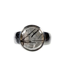 Zilveren ring toermalijnkwarts maat 18 1/2 | rond 1,3 cm