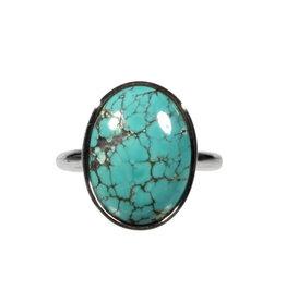 Zilveren ring turkoois maat 17 1/2 | ovaal 1,7 x 1,3 cm