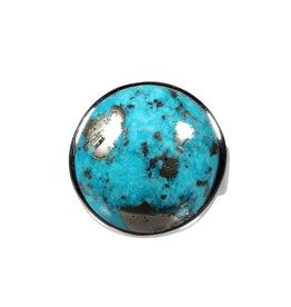 Zilveren ring turkoois met pyriet maat 19 1/4 | rond 2,1 cm