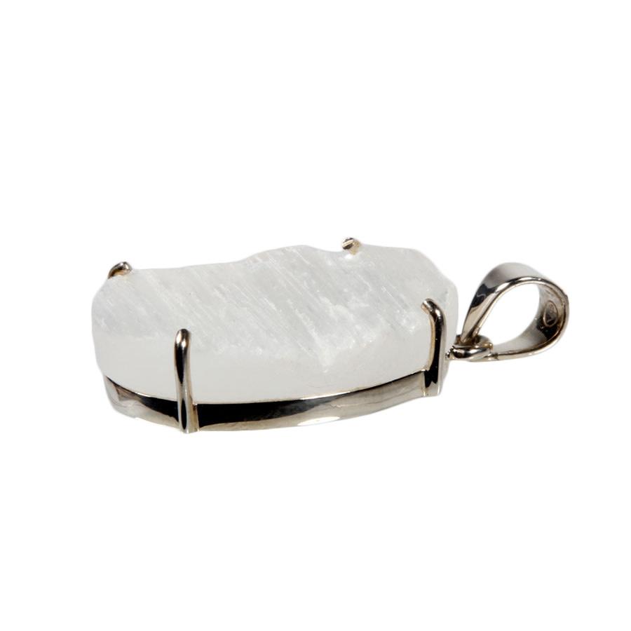 Zilveren hanger seleniet   ovaal gezet 2,8 x 2,2 cm