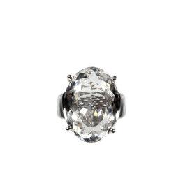 Zilveren ring bergkristal maat 18 3/4 | ovaal facet gezet 2,3 x  1,8 cm