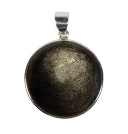 Zilveren hanger obsidiaan (goud) | rond  3,2 cm