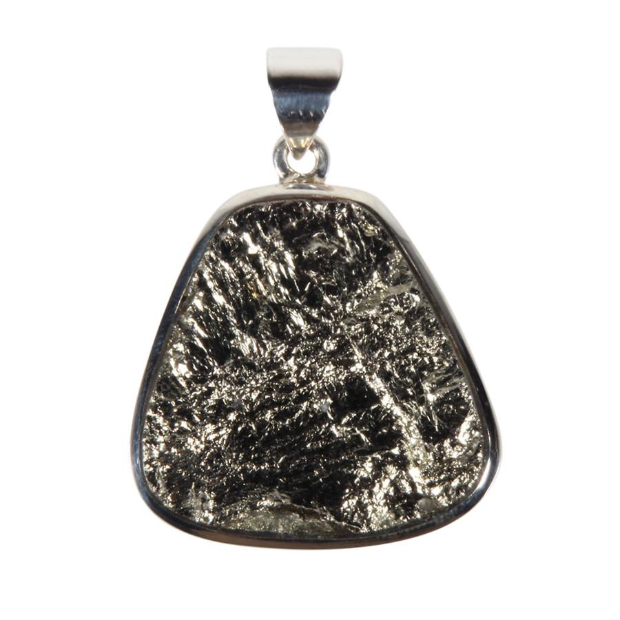 Zilveren hanger pyriet | druppel ruw 2,5 x 2,4 cm