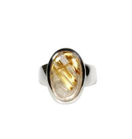 Zilveren ring rutielkwarts maat 17 1/2   ovaal 1,7 x 1,1 cm