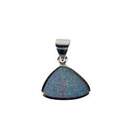Zilveren hanger opaal (Australië) doublet | 1,1 x 1,6 cm