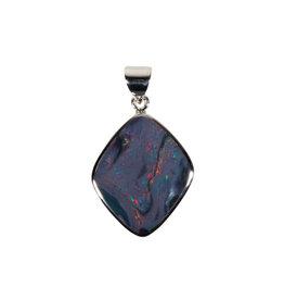 Zilveren hanger opaal (Australië) doublet | 2,5 x 2,1 cm