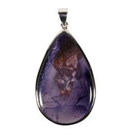Zilveren hanger Tiffany stone | druppel 5 x 3 cm