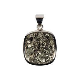Zilveren hanger pyriet | vierkant ruw 1,8 x 1,9 cm
