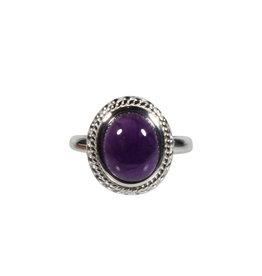 Zilveren ring amethist maat 19 1/4 | ribbelrand ovaal 1,3 x 1 cm