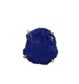 Zilveren ring azuriet maat 17 3/4 | ruw gezet 2 x 1,9 cm