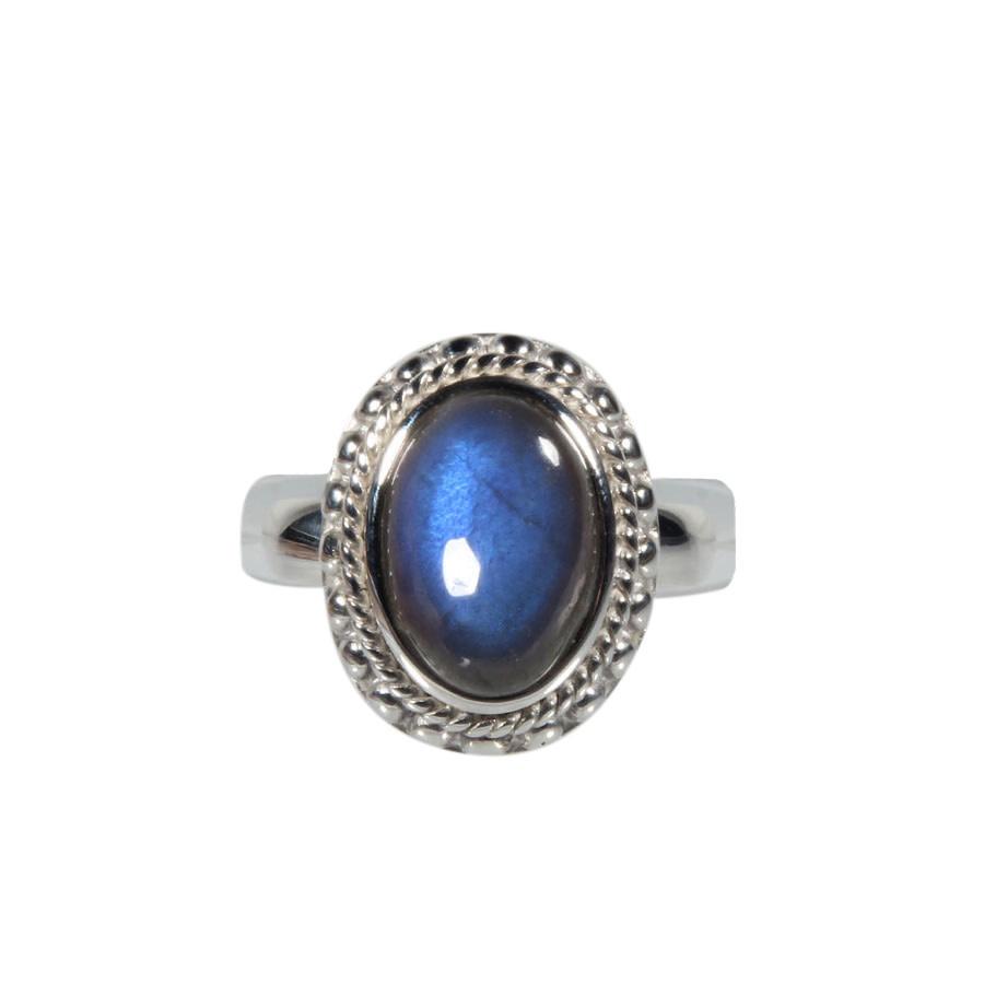 Zilveren ring labradoriet maat 19 1/4   ribbelrand ovaal 1,4 x 1 cm