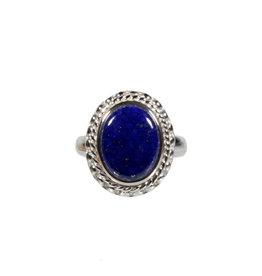Zilveren ring lapis lazuli maat 17 3/4   ribbelrand ovaal 1,3 x 1,1 cm