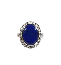 Zilveren ring lapis lazuli maat 19 1/4 | ribbelrand ovaal 1,6 x 1,2 cm