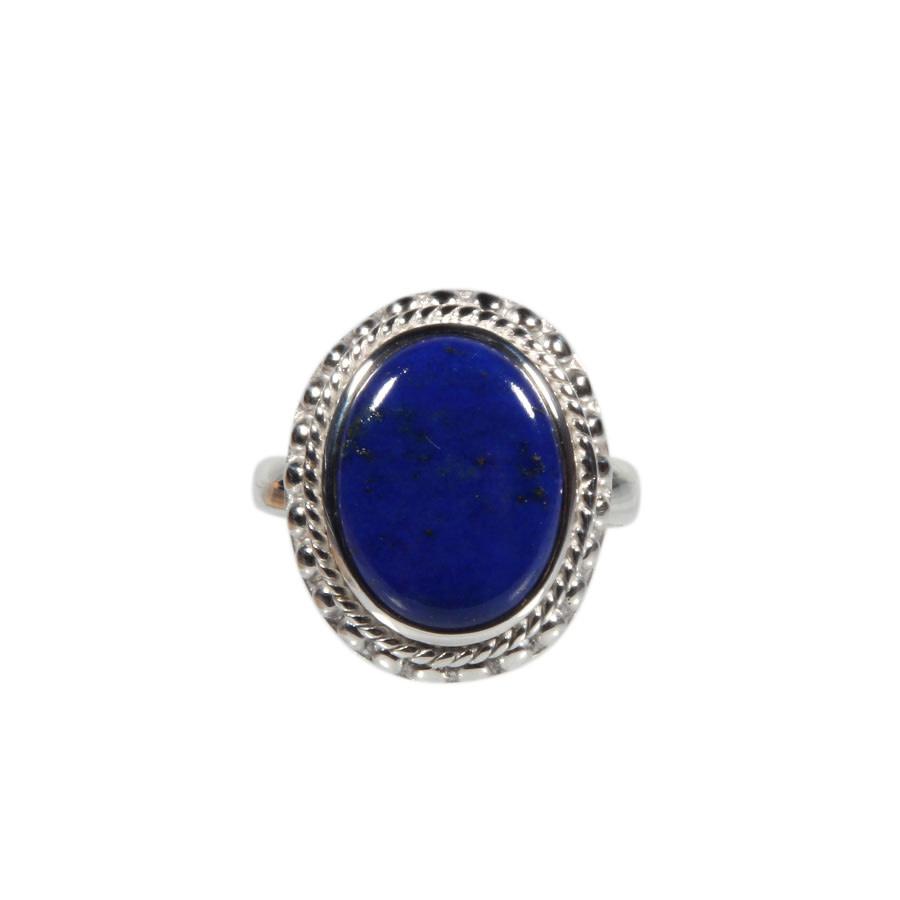 Zilveren ring lapis lazuli maat 19 1/4   ribbelrand ovaal 1,6 x 1,2 cm