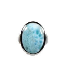 Zilveren ring larimar maat 17 1/4 | ovaal 2,1 x 1,5 cm
