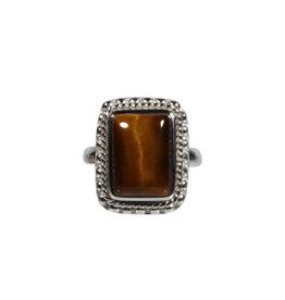 Zilveren ring tijgeroog maat 17 1/2 | ribbeland rechthoek 1,3 x 1 cm