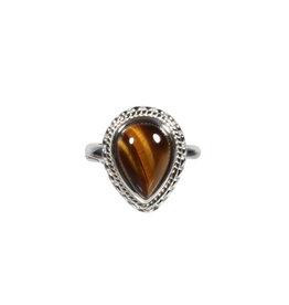 Zilveren ring tijgeroog maat 18 3/4 | ribbeland druppel 1,3 x 1 cm