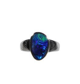 Zilveren ring opaal (Australië) doublet maat 19 1/2 | 1,5 x 0,9 cm