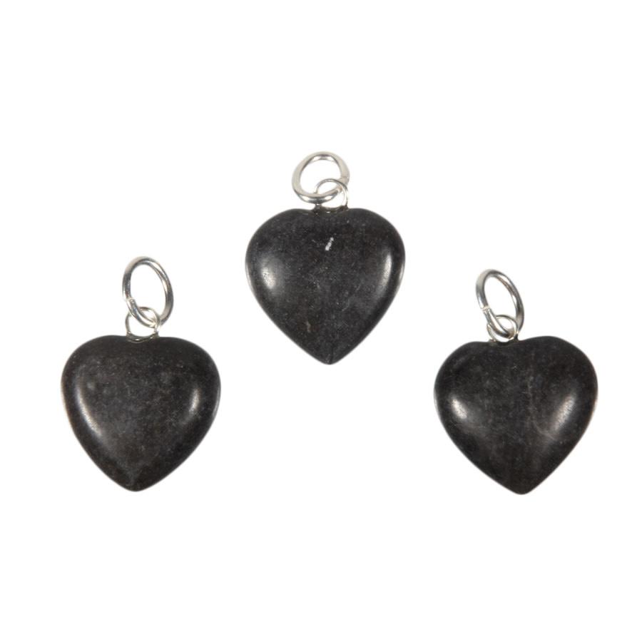 Master shamanite hanger hart 15 mm met zilveren oogje