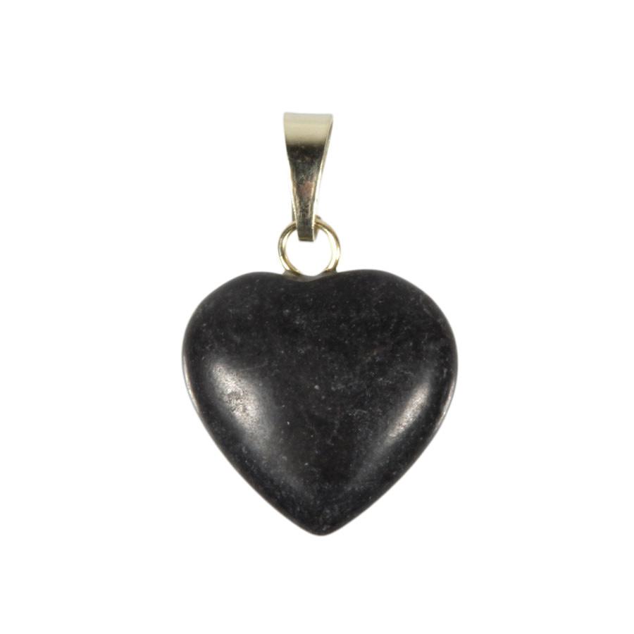 Master shamanite hanger hart 15 mm met 14k gouden oogje
