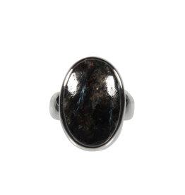 Zilveren ring nuummiet maat 18   ovaal 2,1 x 1,4 cm