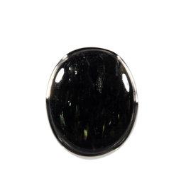 Zilveren ring nuummiet maat 18   ovaal 2,3 x 1,9 cm