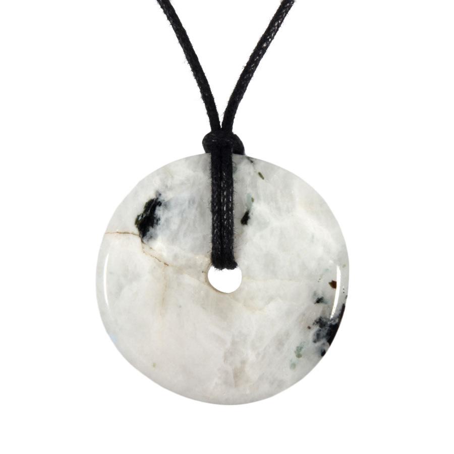 Maansteen (regenboog) hanger donut 3 - 3,5 cm
