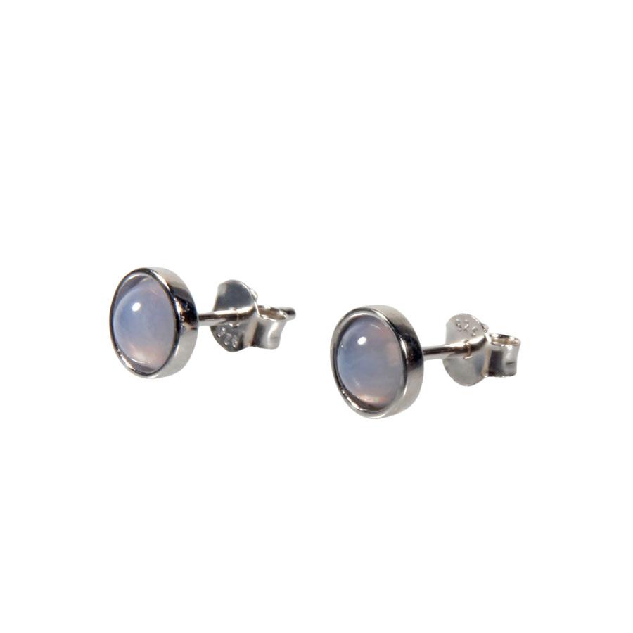 Zilveren oorstekers chalcedoon rond 6 mm