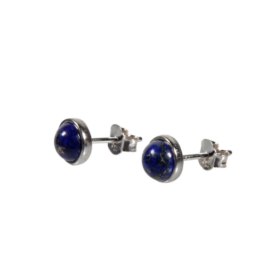 Zilveren oorstekers lapis lazuli rond 6 mm