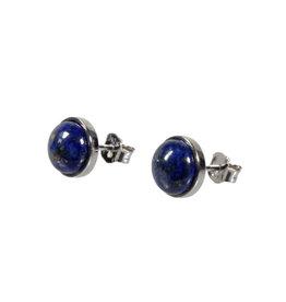 Zilveren oorstekers lapis lazuli rond 8 mm