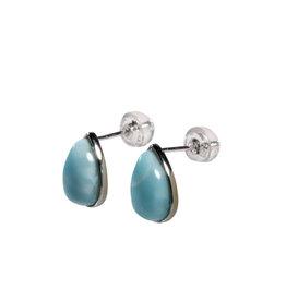 Zilveren oorstekers larimar druppel 10 x 6 mm
