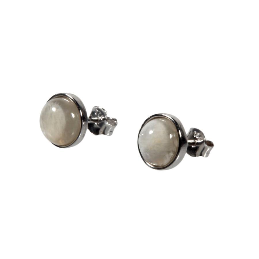 Zilveren oorstekers maansteen rond 8 mm