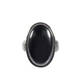 Zilveren ring hematiet maat 19 | ovaal 2,5 x 1,4 cm