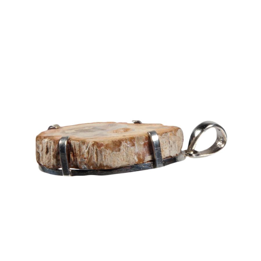 Zilveren hanger versteend hout schijfje 3 x 2,2 cm