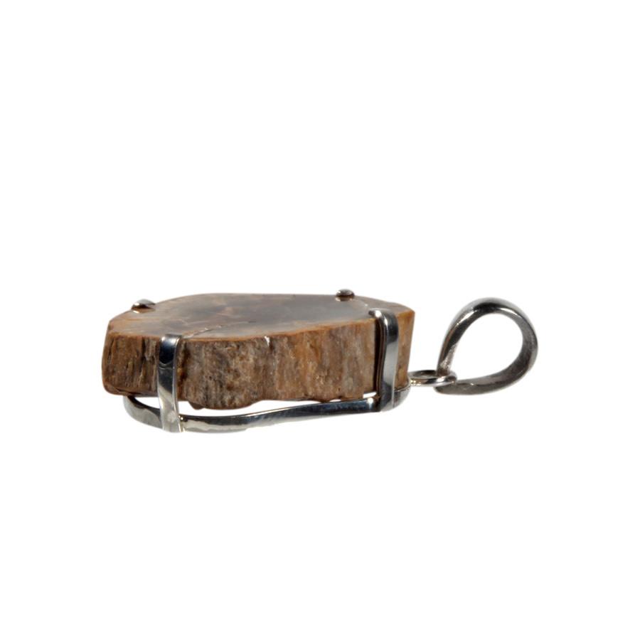 Zilveren hanger versteend hout schijfje 3,1 x 1,9 cm