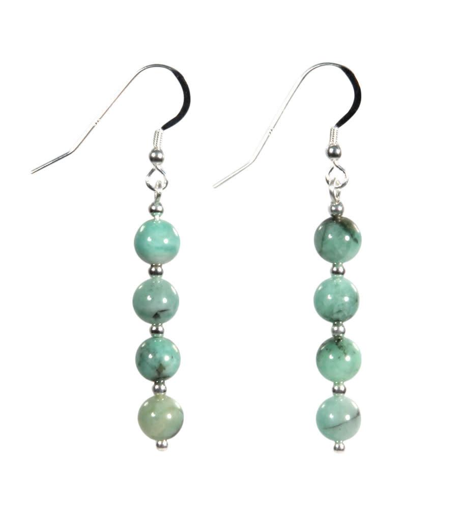 Zilveren oorbellen smaragd 4 bolletjes