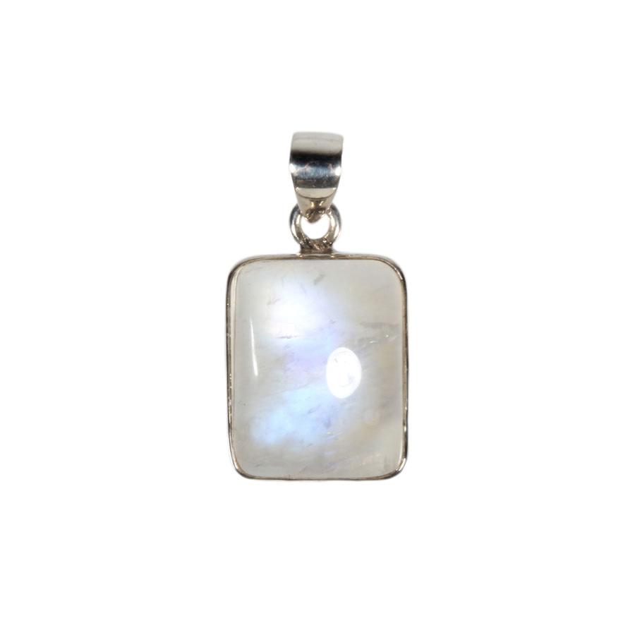 Zilveren hanger maansteen (regenboog) | rechthoek 2 x 1,7 cm